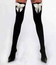 Women Over Knee Socks with Ribbon Silhouette